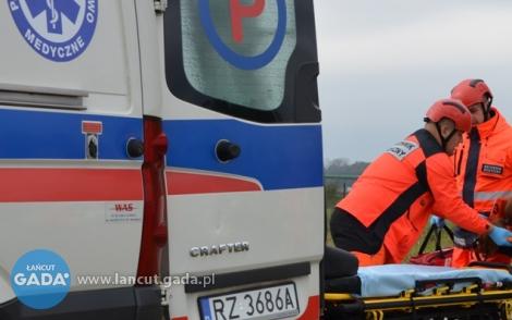 Wypadek wHusowie. Ranny kierowca przebywa wszpitalu